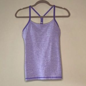 lululemon Lilac Striped Power Y Tank